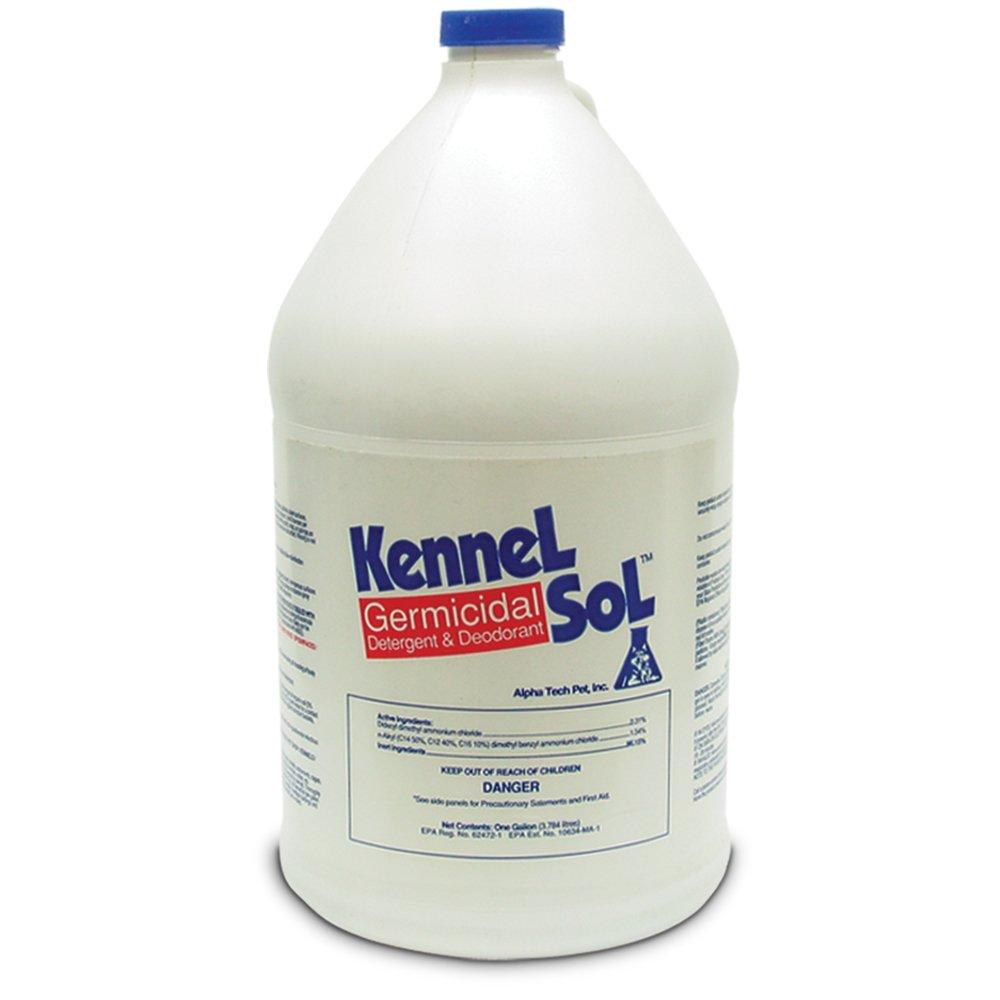 Alpha Tech Pet Kennel Sol, Germicidal Cleaner & Disinfectant (1 Gallon), Dog Cat Urine Poop Pee Remover Animal Smell Odor Removal Destroyer Deodorizer Eliminator Neutralizer Spray Kills Bacteria