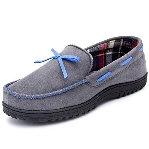 RockDove Men's Faux Moosehide Moccasin Slipper with Memory Foam, Grey/Blue