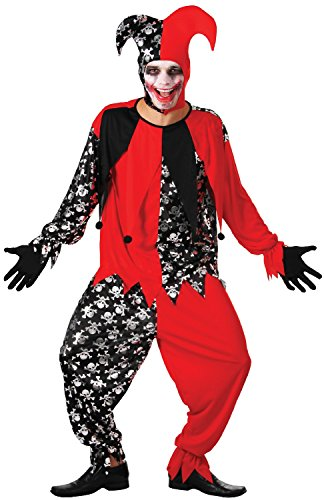 Adult Mens Red/Black Dead Evil Halloween Jester Clown Circus of Horror Fancy Dress Costume Outfit -