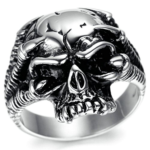 Stainless Steel Ring for Men, Dead Head Ring Gothic Black Band Silver Band 2026MM Size 12 Epinki
