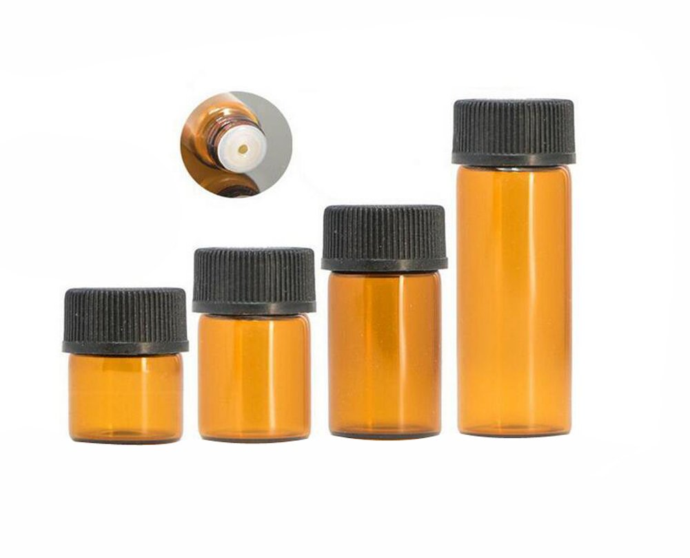 12PCS 1ml/2ml/3ml/5ml Empty Amber Glass Essential Oil Bottle Jar Vial with Orifice Reducer and Cap Cosmetic Makeup Sample Container Bottle Pot (3ml)