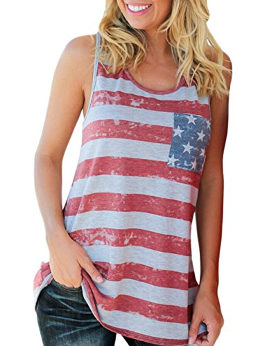 (Aifer Women's American Flag Striped T-Shirts 4th July Short Sleeve Loose Blouse USA Flag Tops (XX-Large, Red Gray Stripe))