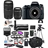 Canon EOS Rebel T6S Digital SLR Camera w/ EF-S 18-55mm + 75-300mm Zoom Lens Bundle includes Camera, Lenses, Filters, Bag, Memory Cards, Remote, Power Grip, Tripod ,and More - International Version