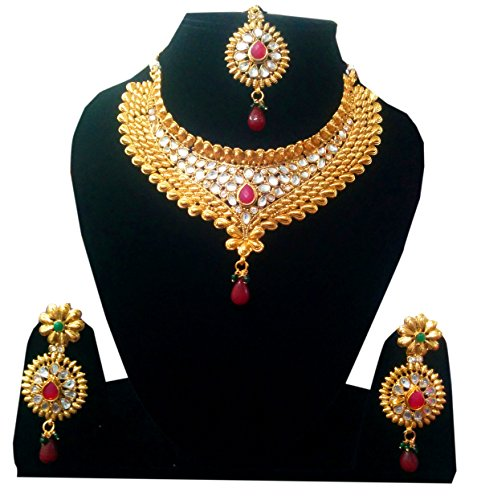 Shoppingover-Kundan-Polki-heavy-jewellery-necklace-set-with-earrings-for-women-Red
