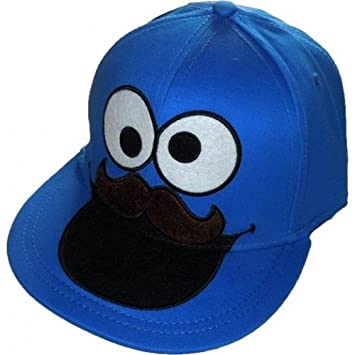 64741c0e16e8e Image Unavailable. Image not available for. Color  Bioworld Sesame Street  Mustache Cookie Monster Fitted Flat-bill Hat
