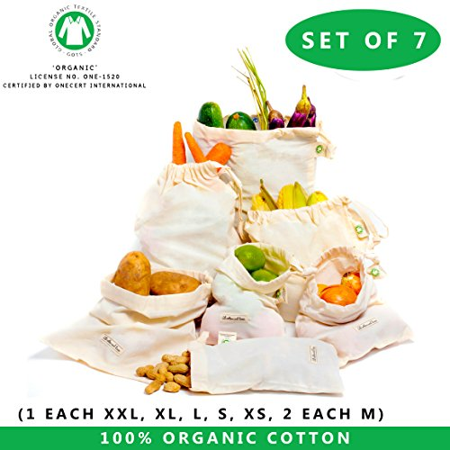 Fresh Herb Towels (Reusable Produce bags with tare weight Zero Waste Drawstring Bags Reusable Bags - Muslin Bag - cotton Produce Bag, cotton bag Set of 7 (6'x10',8'x10',12'x10',14'x10',15'x12',18'x12') - Produce Bags)
