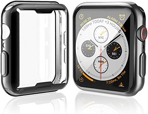 [2-Pack] Julk Case for Apple Watch Series 5 / Series 4 Screen Protector 44mm, 2019 New iWatch Overall Protective Case TPU HD Ultra-Thin Cover for Series 5/4 (1 Black+1 Transparent) 8