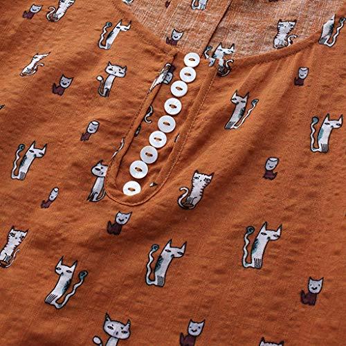 Camiseta Lino Color Y neck 2 Bazhahei Algodón Mujer Blusa Camiseta Para De O Sólido Gran Mujer Patchwork Larga Corta Womens Manga Encaje Orange Tops Tamaño La ggqwU0
