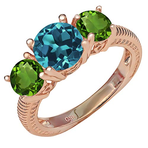 Gem Stone King 2.70 Ct London Blue Topaz Green Chrome Diopside 18K Rose Gold Plated Silver Ring (Size ()