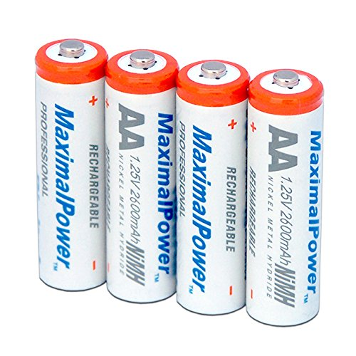 MaximalPower AA NiMH/Ni-Mh Rechargeable Battery 2600mAh Batteries Pack Count X 4
