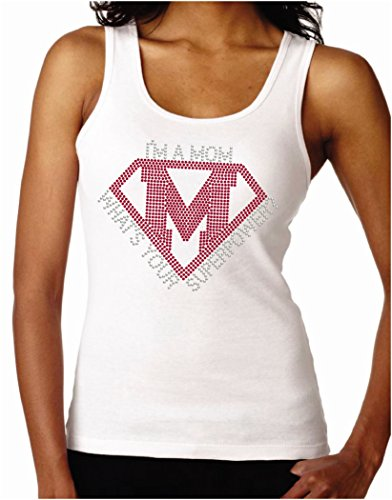 I'm a Mom What's Your Superpower Women's Rhinestone Fitted Tank Tops, Small, White (Rhinestone Fitted Tee)