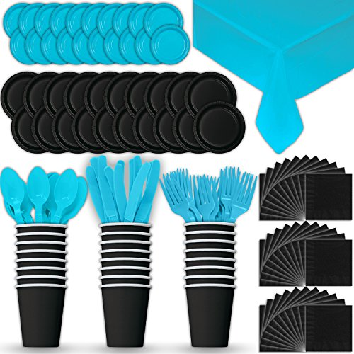 Paper Tableware Set for 24 - Black & Turquoise - Dinner and Dessert Plates, Cups, Napkins, Cutlery (Spoons, Forks, Knives), and Tablecloths - Full Two-Tone Party Supplies Pack -