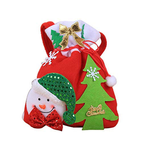 - SUKEQ Bag Drawstring Candy Bags Santa Goody Treat Bags for Party Favors Supplies Decor (Snowman)
