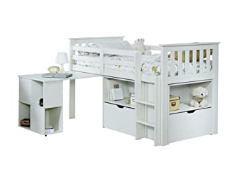 Hochbett Holz Weiß Kinder : Etagenbett hochbett er etagen bett kiefer massiv weiß natur