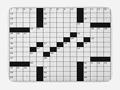 - Ambesonne Word Search Puzzle Bath Mat, Blank Newspaper Style Crossword Puzzle with Numbers in Word Grid, Plush Bathroom Decor Mat with Non Slip Backing, 29.5 W X 17.5 L Inches, Black and White