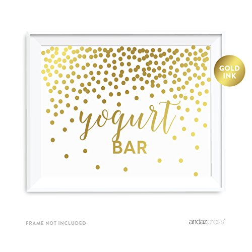 Andaz Press Wedding Party Signs, Metallic Gold Confetti Polka Dots, 8.5x11-inch, Yogurt Bar Reception Dessert Table Sign, 1-Pack, Unframed