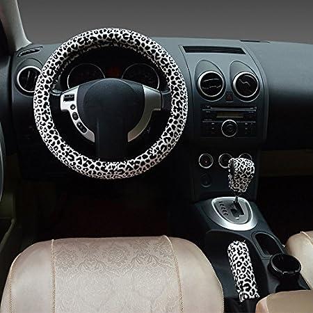 Blanc Hivel Hiver Leopard Peluche Couvre Volant Voiture Trois-pieces avec Housse de Volant a Manches Frein a Main Doux Chaud Anti Slip Vehicule Auto Car Steering Wheel Cover 38cm
