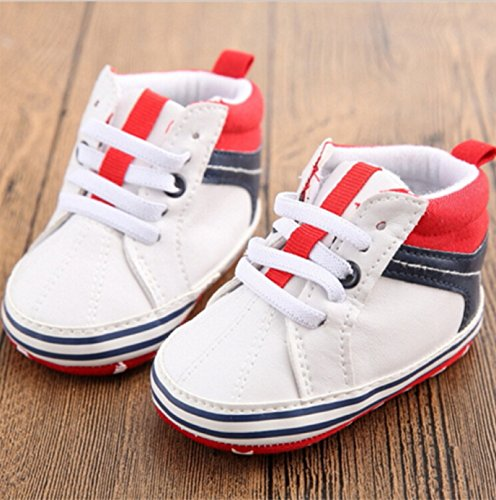 Children Patchwork Anti-slip Soft Sole Sneakers Baby Boy Girls Crib Shoes PU Leather Footwear Prewalker Toddler Sports Shoes (3 US Size, White)