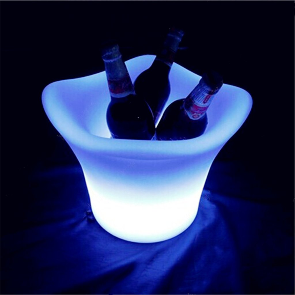 Augrous 3 Litres Ice Bucket LED 16 Color Changing Plastic Waterproof Rechargeable with Remote