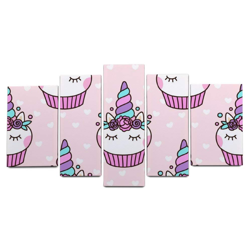 LONK 5 Piece Artwork Home Decorative Modern Wall Décor Stretched and Framed Cute Unicorn Cupcake 10162 8202 8241 Inch kit Giclee Print Abstract Canvas Prints by LONK