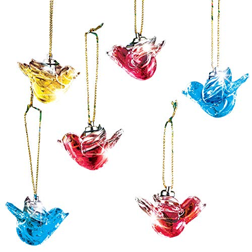 Lighted Glass Dove Christmas Ornaments Set - Christmas Tree Peace Decorations, Color Changing, Safe LED Lights, 6 Pc ()