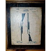 Framed Vintage Browning 1901 Shotgun original patent drawing sign