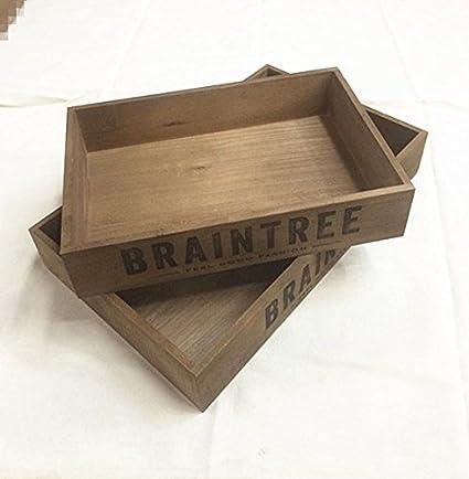 XBR Vintage bandeja de madera Arrangement, diario hacer cajas, paletas de madera antiguo hecho