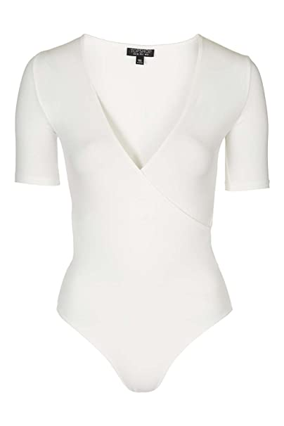 5b7a462288 Topshop Wrap Front Bodysuit White (12): Amazon.co.uk: Clothing