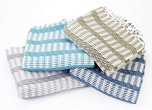 (MYNDOS Turkish PESHTEMAL Bath Towel 100% Cotton Set of 4 Absorbent Bath Beach Pool Yoga Fitness SPA PESTEMAL Towel Petroleum, Khaki, Gray, Blue)