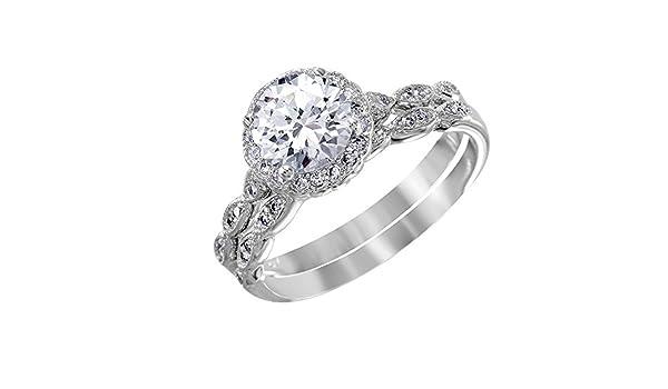 Princess Kylie Halo Set Round Cubic Zirconia Center Designer Sides Ring Rhodium Plated Sterling Silver