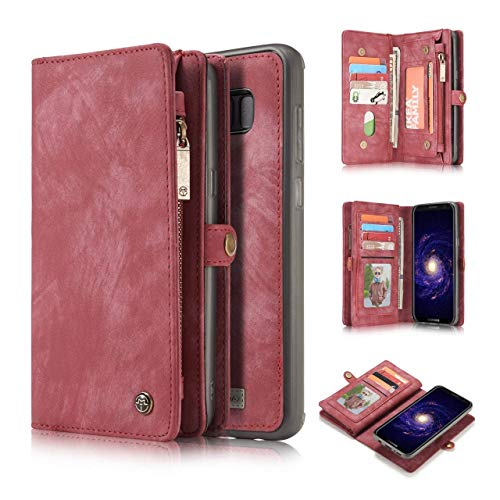 Samsung Galaxy S8 Case Wallet,KONKY Caseme Samsung Galaxy S8 Wallet Case, Magnetic Detachable Removable Phone Cover Pouch Folio Durable Leather Purse Flip Card Pockets Holder Bag Smooth Zipper - Red