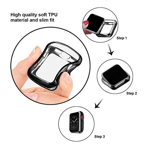 UBOLE Case for Apple Watch 38mm, UBOLE Scratch-resistant Flexible Lightweight Plated TPU Full Body Protective Case for iWatch Series3, Series 2, series 1 (5PACK, 38mm) by UBOLE (Image #6)