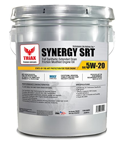 Triax 5W-20 SYNERGY SRT Full Synthetic - API SN Licensed - Friction Modified, Pre-Boosted for Viscosity Stability, Long Drain (5 GAL PAIL)