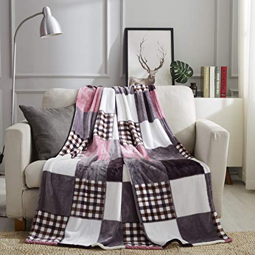 Tache Autumn Pink Farmhouse Super Soft Fleece Plaid Patchwork Throw Blanket, 63x87 Twin