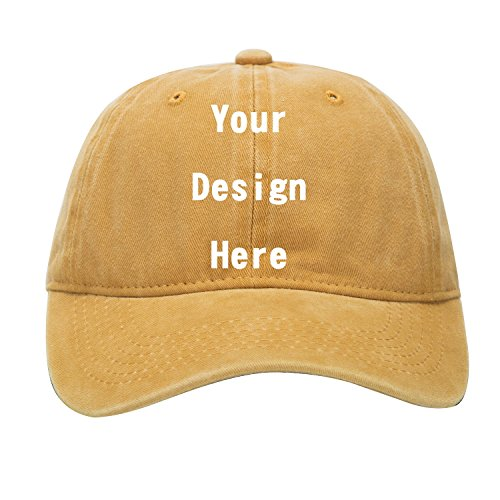 Logo Baseball Adjustable Hat (RR&DDXU Customize Your Own Design Text, Photos, Image Logo Adjustable Hat Hiphop Hat Baseball Cap (Yellow))
