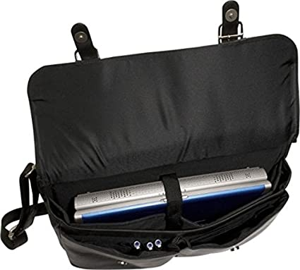 David King Leather Dowel Laptop Briefcase in Black