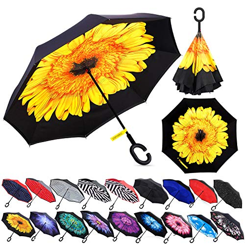 Umbrella Designed (Zameka Double Layer Inverted Umbrellas Reverse Folding Umbrella Windproof UV Protection Big Straight Umbrella Inside Out Upside Down for Car Rain Outdoor with C-Shaped Handle (Sun Flower))