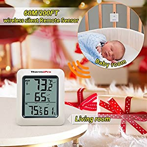 ThermoPro TP60 Digital Hygrometer Indoor Outdoor Thermometer Humidity Monitor with Temperature Gauge Humidity Meter, Wireless Outdoor Hygrometer, 200ft/60m Range