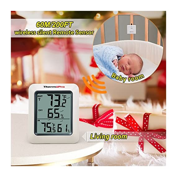 ThermoPro TP-60S Digital Hygrometer Indoor Outdoor Thermometer Humidity Monitor, with Temperature Gauge Meter, Wireless, 200ft/60m Range, Thermometer & Hygrometer 3 Buy without risk! - Thermopro TP60S digital indoor outdoor hygrometer displays temp and humidity for both inside and outside simultaneously【1 YEAR WARRANTY! REGISTER your product after purchase and RECEIVE EXTENDED 3 YEARS Warranty】. Wireless humidity meter thermometer measures indoor outdoor temperatures and humidity percentages, can display the readings from up to 3 outdoor remote sensors 【additional 2 sensor (ASIN B072BY1M2V) can be ordered】to monitor different locations. Temperatures display in °F or °C All time/24 hours MAX & MIN humidity temperature and humidity percentages records. Temperature trend arrows indicate whether it's getting warmer or colder near remote sensor.