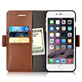 iPhone 6s Plus / 6 Plus Wallet Case, iXCC Detachable Folio Magnetic Cover Case [2 in 1] with Premium Microfiber Leather and Credit Card Slots - Brown