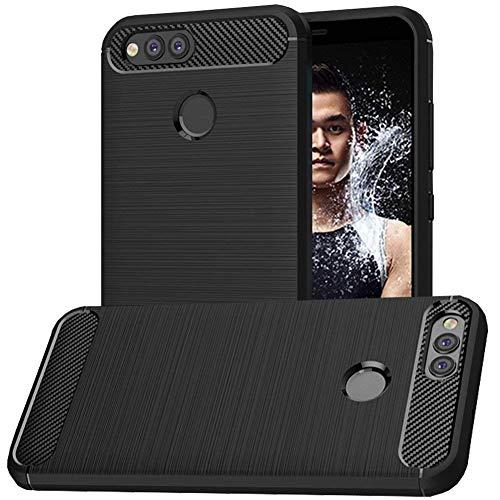 Huawei Honor 7X Case, Huawei Mate SE Case, MicroP Soft TPU Brushed Anti-fingerprint Full-body Protective Phone Case Cover For Huawei Honor 7X (2017)/Huawei Mate SE (2018) (Black Brushed TPU)