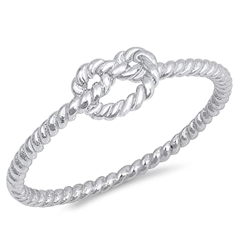 Princess Kylie Sterling Silver Twisted Rope Band Ring