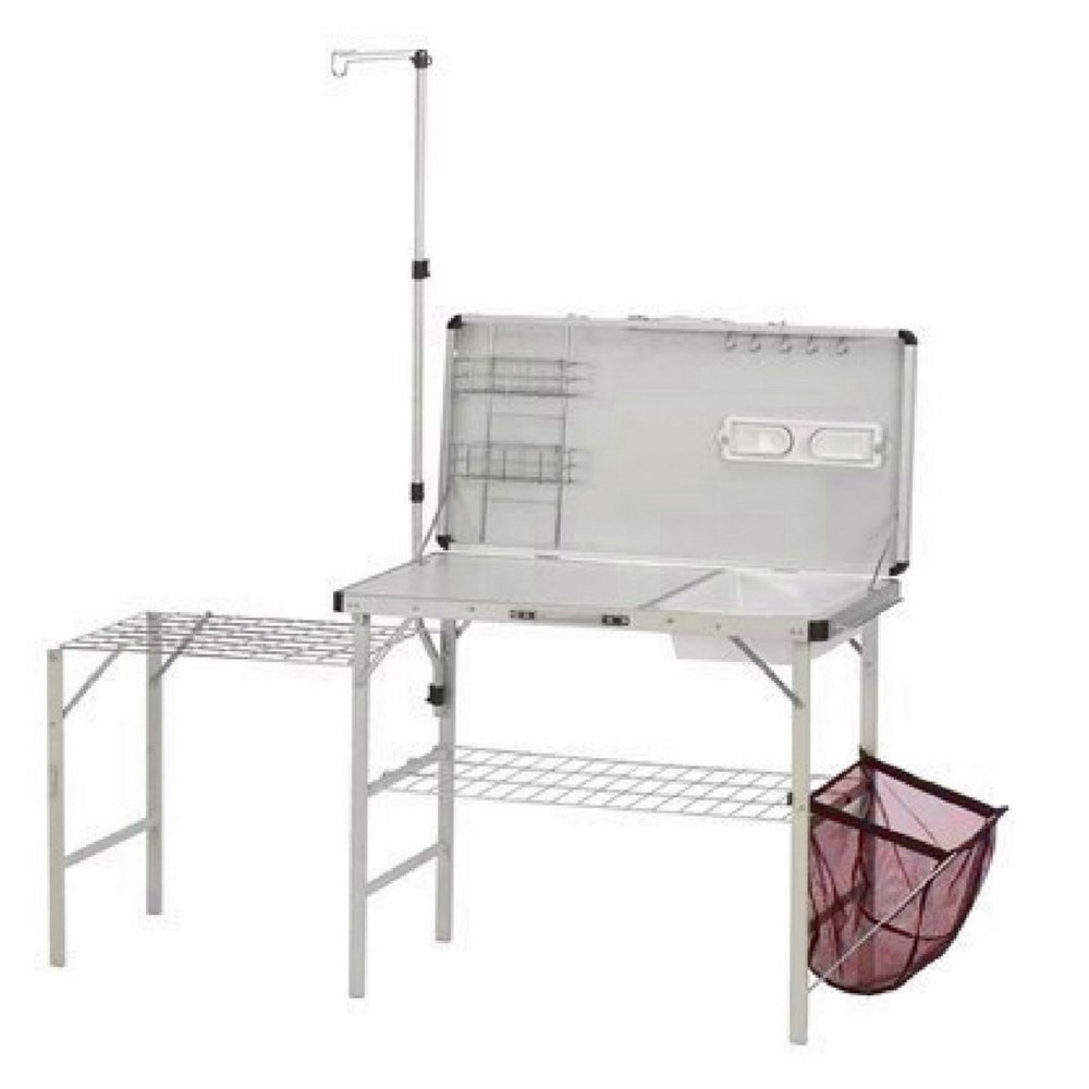 Camp Kitchen Sink Table Folding Outside Garden Backyard Patio Piknic Camp Rv Outside Cleaning Bbq Mesh Storage Space Shelves Paper Towel Holder Case for Easy Carrying & eBook by BADA shop