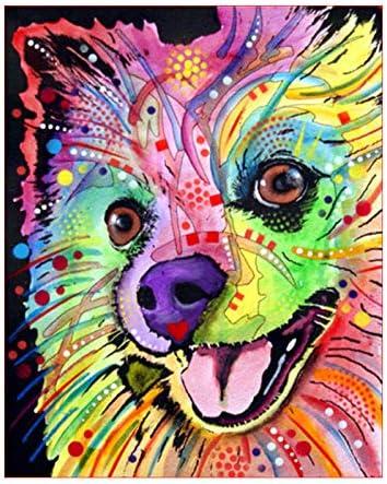 数字油絵 DIY デジタル油絵 子供 大人 初心者 塗られた動物の犬 ホームインテリア40X50cm (フレームなし)