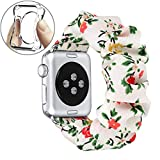 fastgo Compatible with Scrunchie Apple Watch Band Series 5/4 38mm/40mm, Women Girls Gift Elastic Bracelet Sport Strap Stretchy Soft Fabric Replacement Wristbands (Floral, 38mm/40mm)