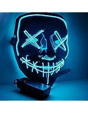 DANGZW Halloween led-masker voor cosplay, festival, party, show, muziekfeest, blauw