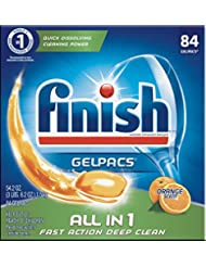 Finish All in 1 Gelpacs Orange, 84ct, Dishwasher Detergent Ta...