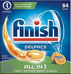 Finish All In 1 Gelpacs, Orange 84 Tabs, Dishwasher Detergent Tablets