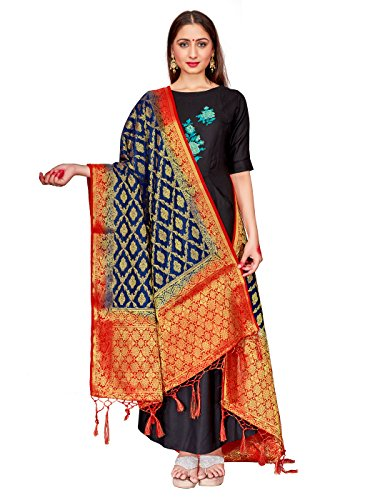 ELINA FASHION Women's Zari Work Indian Banarasi Art Silk Woven Only Dupatta for Dress Material & Salwar Suit (Navy Blue 1) (Salwar Suit Blue)