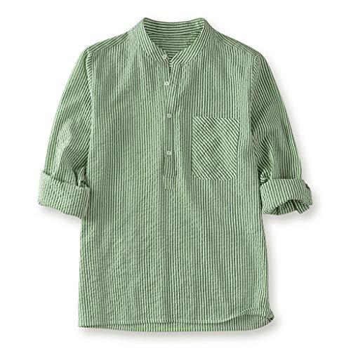 Realdo Mens Striped Shirt,Cotton Linen,Men's Casual Button Down T Shirt Fit Slim Top Green